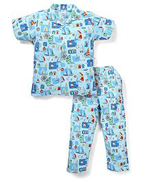 Ollypop Half Sleeves Night Suit Multi Print - Blue