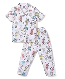 Ollypop Half Sleeves Night Suit Multi Print - White