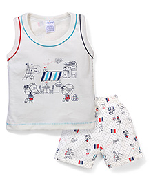 Ollypop Sleeveless T-Shirt And Shorts Multiprint - Off White