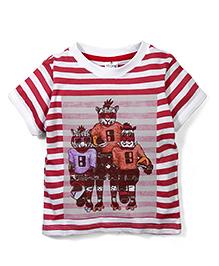 Ollypop Half Sleeves Stripe T-Shirt Animal Print - Red White