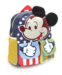 Disney Mickey Mouse Print School Bag Navy Blue - 11 Inches