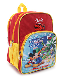 Disney Mickey Mouse Print School Bag Red - 11.8 Inches