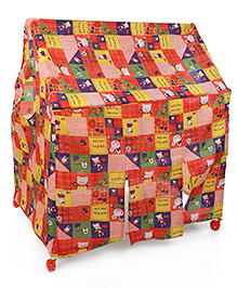 Lovely Play Tent House With Wheels Happy Rabbit & Bear Print - Red