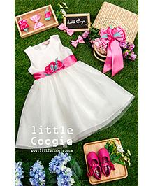 Little Coogie Flower Applique Dress - White & Pink