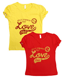 Raine And Jaine Printed Tee Combo - Red & Yellow