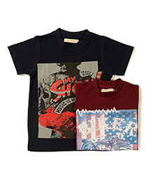 Raine And Jaine Printed T-Shirt Combo - Black & Maroon