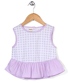 Bee Bee Checks Print Dress - Purple
