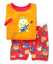 Petite Kids T-Shirt And Shorts Set Printed - Red And Orange