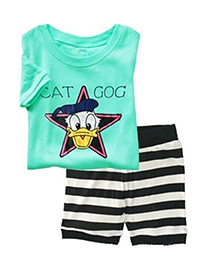 Petite Kids T-Shirt And Shorts Set - Turquoise And Black