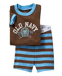 Petite Kids Printed Summer Wear Set - Brown And Blue