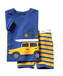 Petite Kids Printed Summer Wear Set - Blue And Yellow