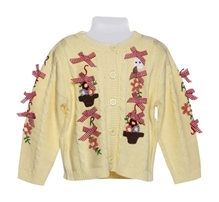 Flower Embroidery Sweater With Bows