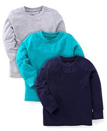 Babyhug Full Sleeves T-Shirts Pack of 3 - Blue Navy Grey