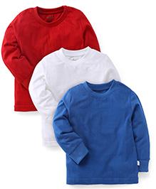 Babyhug Full Sleeves T-Shirts Pack of 3 - Red Royal Blue White