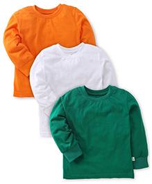 Babyhug Full Sleeves T-Shirts Pack of 3 - White Orange Dark Green