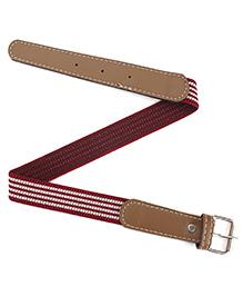 Milonee Faux Leather Striped Buckle Belt - Maroon & White