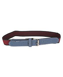 Milonee Faux Leather Striped Buckle Belt - Black & Red