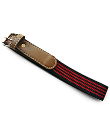 Milonee Faux Leather Striped Buckle Belt - Red & Brown