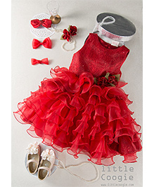 Little Coogie Sequenced Frilled Dress - Red