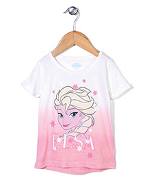 Disney Frozen Half Sleeves Top Elsa Print - Off White & Pink