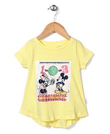 Disney Half Sleeves Top Mickey & Minnie Print - Light Yellow