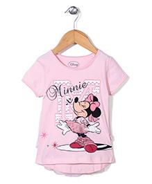 Disney Half Sleeves Top Minnie Print - Light Pink