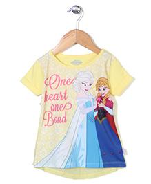 Disney Frozen Half Sleeves Top Caption Print - Yellow