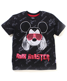 Mickey Mouse And Friends Half Sleeves T-Shirt - Black