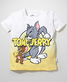 Tom and Jerry Half Sleeves Printed T-Shirt - Off White & Yellow