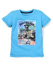 Gini & Jony Half Sleeves T-Shirt Surf Club Print - Blue