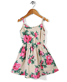 Gini & Jony Singlet Frock Floral Print - Cream & Pink