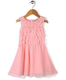 Palm Tree Sleeveless Frock Ruffled Bodice - Blush Pink