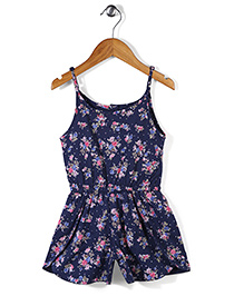 Palm Tree Jumpsuit Allover Floral Print - Navy Blue