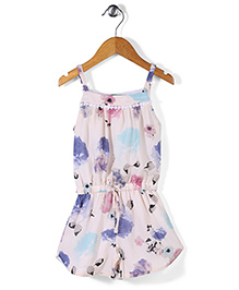 Palm Tree Jumpsuit Allover Floral Print - White