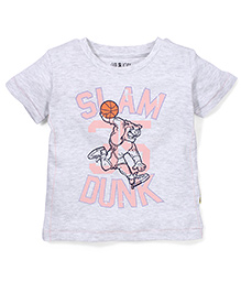 Gini & Jony Half Sleeves T-Shirt Slam Dunk Print - Grey