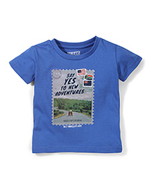 Gini & Jony Half Sleeves T-Shirt New Adventure Print - Blue