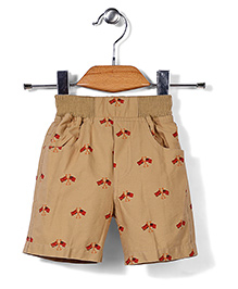 Jash Kids Pull On Shorts Flag Print - Khaki