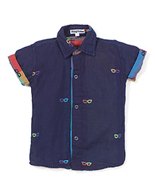 Jash Kids Half Sleeves Shirt Mask Print - Navy