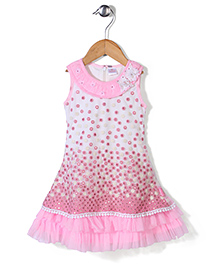 Chocopie Sleeveless Floral Embroidered Party Frock - Pink & White