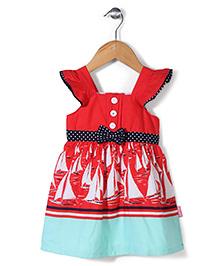 Chocopie Short Sleeves Frock Boat Print - Red