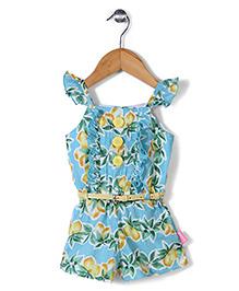 Chocopie Flutter Sleeves Jumpsuit Floral Print - Blue