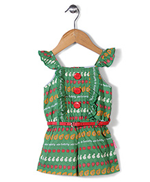 Chocopie Flutter Sleeves Jumpsuit With Belt Multi Print - Green