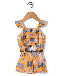 Chocopie Flutter Sleeves Jumpsuit With Belt Elephant Print - Orange