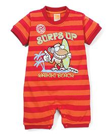 Little Kangaroos Stripe With Surfs Up Print Rompers - Red & Orange