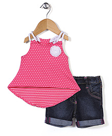 Little Kangaroos Top And Shorts Floral Applique - Pink And Blue