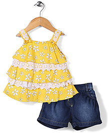 Little Kangaroos Top And Shorts Floral Print - Yellow And Blue