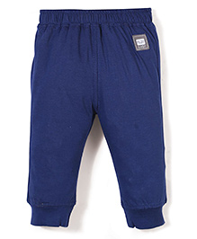 Little Kangaroos Solid Color Track Pant With Play Baby Patch - Navy