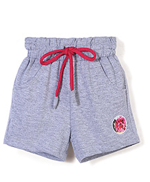 Little Kangaroos Shorts With Floral Patch - Grey