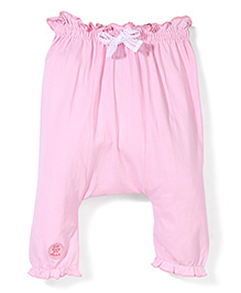 Little Kangaroos Diaper Leggings Bow Applique - Pink