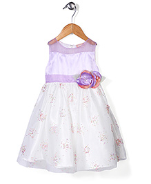 Little Coogie Flower Print Dress - Purple